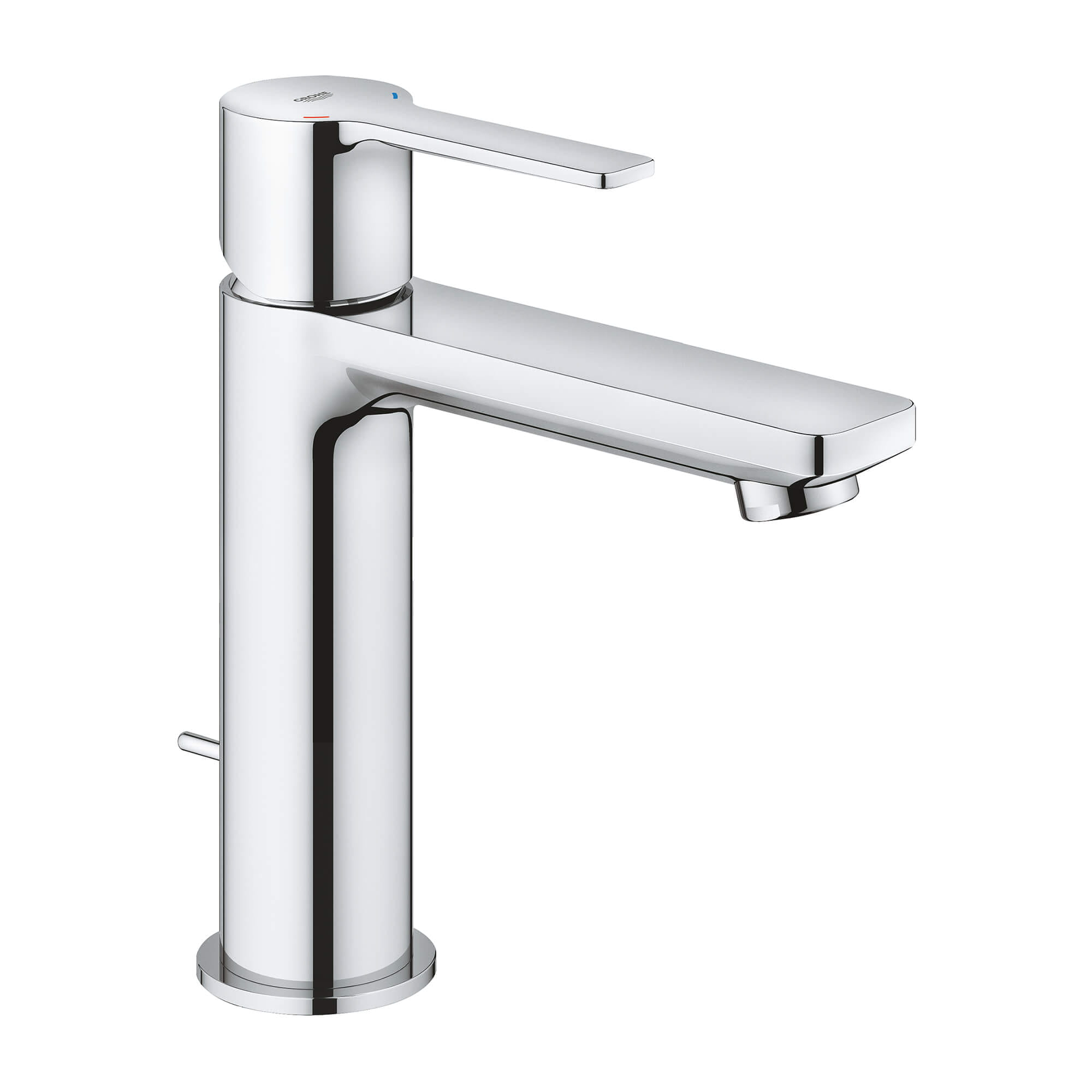 """Single hole installation GROHE SilkMove 1.1"""" (28 mm) ceramic cartridge Quick installation system Swivel tubular C-spout with flow control Stop limiter Push-open 1 1/4"""" (32mm) waste set Stainless steel flex lines Flow rate: 1.2 gpm (4.5 l/min) Energy Polic-related"""