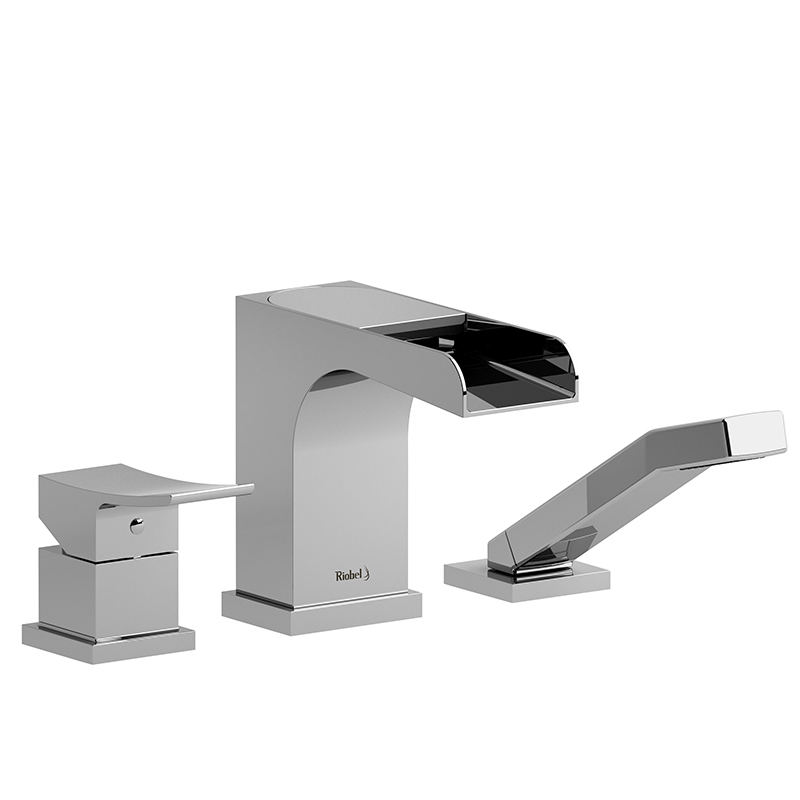 ZENDO - ZOOP10 3-PIECE DECK-MOUNT TUB FILLER OPEN SPOUT WITH HAND SHOWER-related