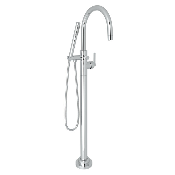Lombardia Single Leg Floor Mount Tub Filler - Polished Chrome with Metal Lever Handle | Model Number: M2287LMAPC/TO-related