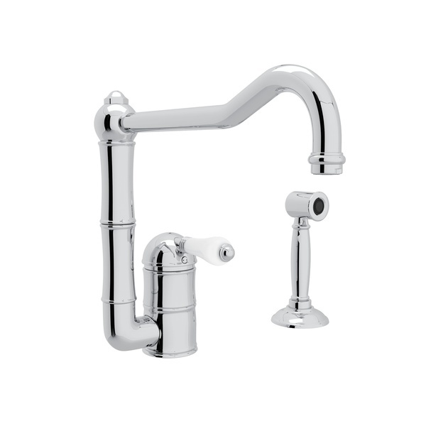 Acqui Single Hole Column Spout Kitchen Faucet with Sidespray and Extended Spout - Polished Chrome with White Porcelain Lever Handle | Model Number: A3608/11LPWSAPC-2-popular