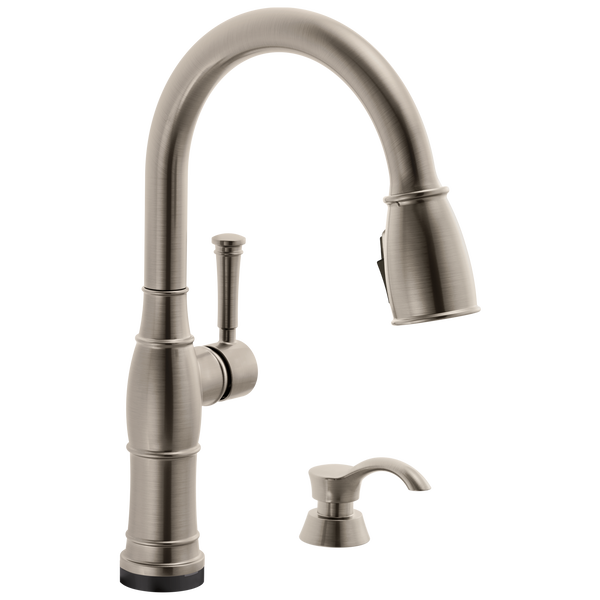 Valdosta® Single Handle Pull-Down Kitchen Faucet With Touch2O Technology And Soap Dispenser In Spotshield Stainless MODEL#: 19957TZ-SPSD-DST-popular